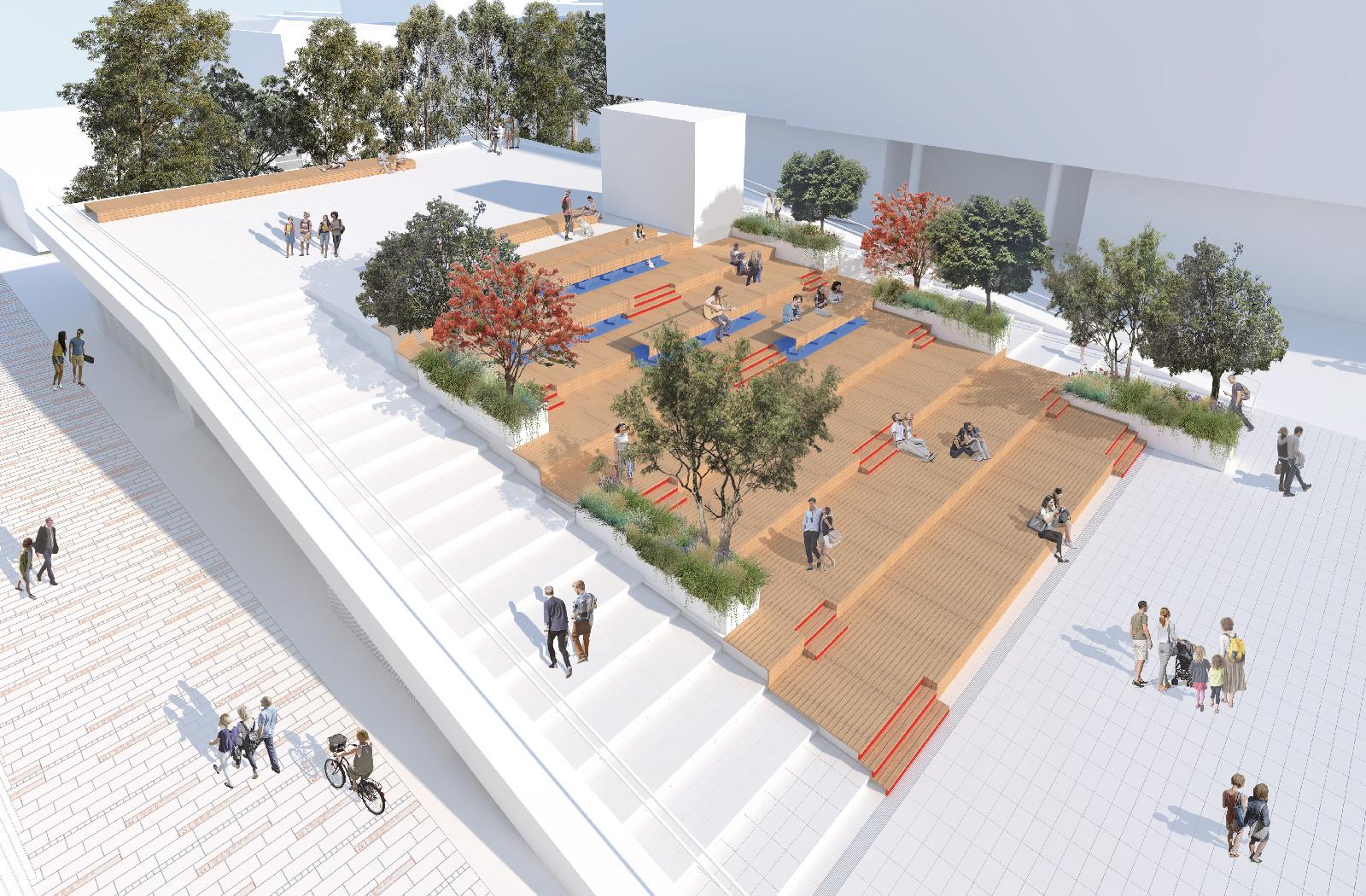 Alumni Park perspective- a UNSW public domain project by McGregor Westlake Architecture