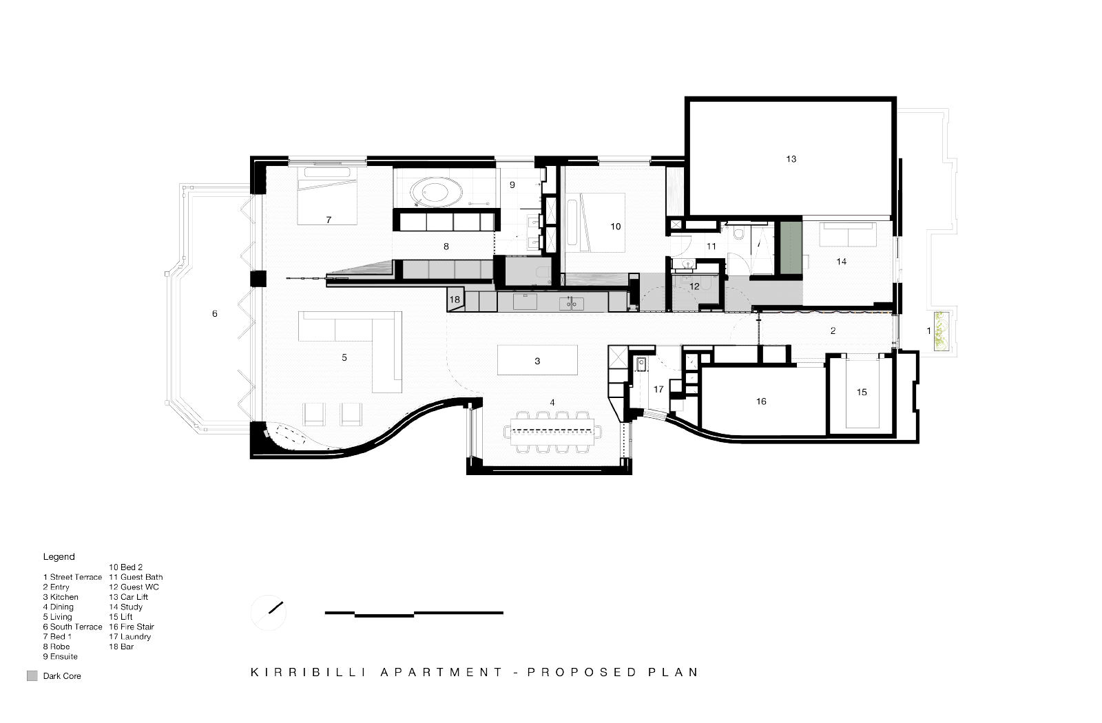 Kirribilli Apartment proposed plan- an interior fit-out project by McGregor Westlake Architecture