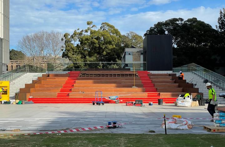 Alumni Park tribune in construction